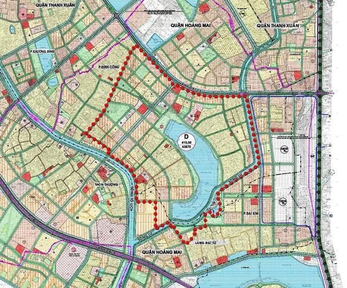 Vị trí dự án Khu đô thị mới Đại Kim - Định Công