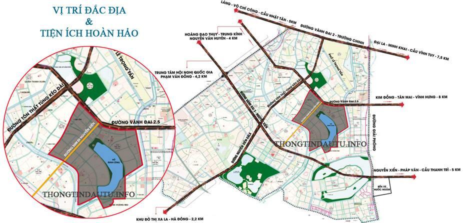 Quy hoạch dự án khu đô thị mới Đại Kim - Định Công song song dự án đường vành đai 2.5