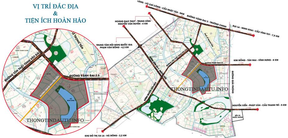 Vị trí đắc địa của dự án KĐT mới Đại Kim - Định Công rộng 109ha