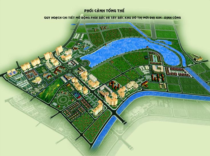 Phối cảnh tổng thể dự án KĐT mới Đại Kim - Định Công rộng 109ha