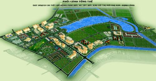 Phối cảnh tổng thể của khu đô thị mới Đại Kim – Định Công