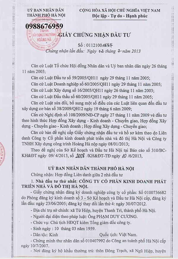 Giấy chứng nhận đầu tư dự án BT do UBND tp Hà Nội cấp ngày 02/07/2013