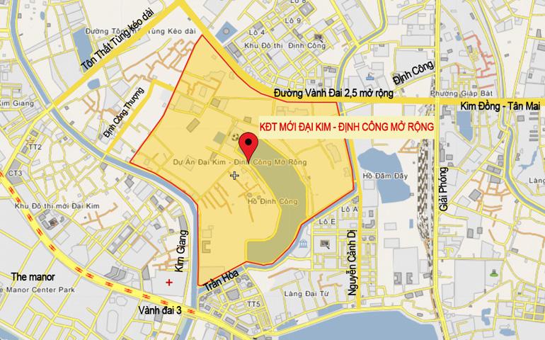 Vị trí dự án khu đô thị Đại Kim – Định Công và đường vành đai 2,5