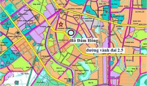 Dự án vành đai 2.5 đoạn Đầm Hồng - Giáp Bát nhìn trên bản đồ